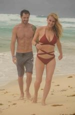 Leven Rambin During a romantic holiday at the beach in Cancun, Mexico