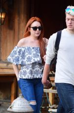 Lindsay Lohan Dining with tall mystery man in West Village