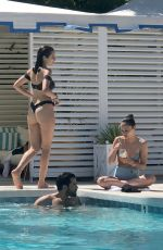 Oliva Culpo and Cara Santana Hanging out poolside at a resort in Palm Springs