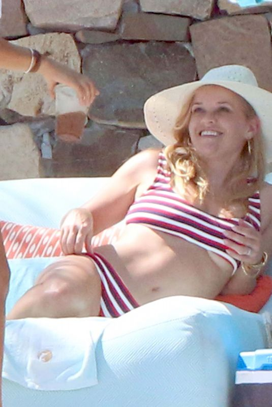 Reese Witherspoon In a red and white bikini in Cabo Mexico