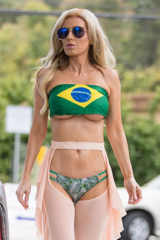 Ana Braga Wears Brazil top at gas station in Los Angeles