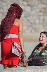 Chelsee Healey Filming Hollyoaks the soap in Majorca