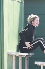 Ireland Baldwin In black activewear doing a photoshoot in Playa Del Vista