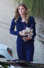 Jaime King Picks up some iced coffees in her new Mercedes-Benz in Los Angeles