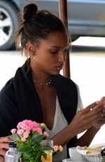 Jasmine Tookes Has lunch with a group of friends at the popular II Pistaio Restaurant in Beverly Hills