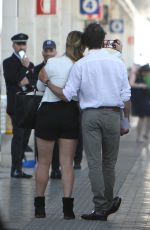 Kate Winslet and her husband Ned Rocknroll leave Venice by train
