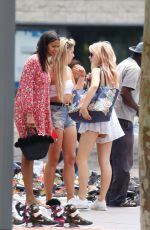 Lottie Moss and Tina Stinnes are seen enjoying a sunny afternoon through the streets of Barceloneta in Barcelona