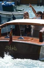 Sharon Osbourne and her daughter Aimee Osbourne take a taxi boat in Venice, Italy