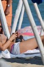 Thylane Blondeau Relaxes on the beach in St Tropez