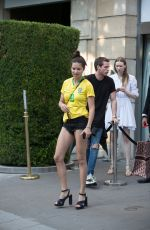 Adriana Lima Spotted leaving her hotel in a patriotic Brazil football shirt in honour of the World Cup in Paris, France