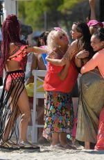 Chelsee Healey, Nadine Mulkerrin, Jennifer Metcalfe At The Hollyoaks cast filming in Majorca, Spain