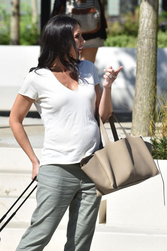 Christine Lampard Shows off her baby bump when seen out in London