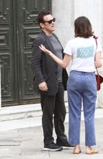 Emily Mortimer and Matt Dillon in Venice during a pause of filming
