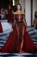 Georgia Fowler Attends the Zuhair Murad Couture during Haute Couture Autumn - Winter 2018-19 Collection. Paris, France