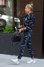 Hailey Baldwin Out and about wearing a Versace outfit in Brooklyn