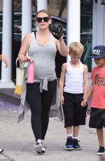 Hilary Duff Leaving the gym in Studio City with her son, Luca Cruz Comrie, in Los Angeles