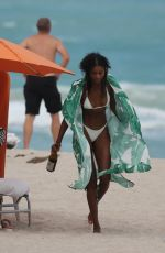Jazzma Kendrick In a white bikini as she has a fun day at the beach in Miami