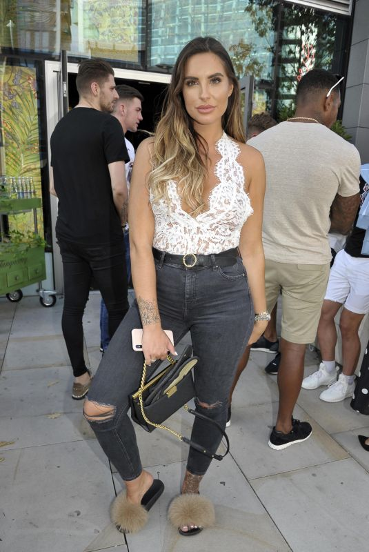 Jessica Shears Arrive at an Engagement Party at the Menagerie Bar and Restaurant in Manchester, England