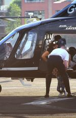 Justin Timberlake & Jessica Biel With their son arriving by an AgustaWestland Grand helicopter at Battersea Heliport in London
