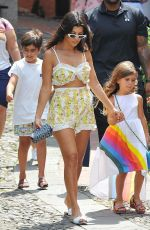 Kourtney Kardashian and her children enjoy an ice cream during a shopping day in Portofino, Italy