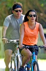 Lea Michele and Zandy Reich head out for a beach bike ride in the Hamptons