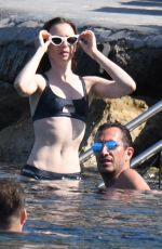 Lily Collins At the beach in Ischia