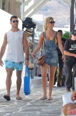 Renae Ayris and her fiance Andrew Papadopoulos enjoy a break in Mykonos