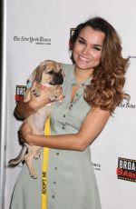 Samantha Barks At 20th Annual Broadway Barks Animal Adoption Event at The Bernard B. Jacobs Theatre and Shubert Alley, New York