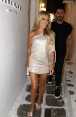 Sylvie Meis In a silverish dress outside in Mykonos