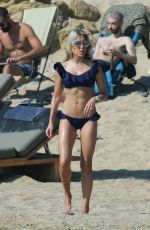 Sylvie Meis In black bikini at the beach on Mykonos Island