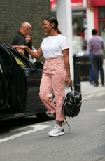 Alexandra Burke In tight short trousers exits Sunday Brunch Channel 4 London