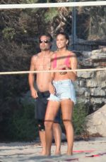 April Love Geary Shows pregnant bikini body while playing Volley Ball in Malibu