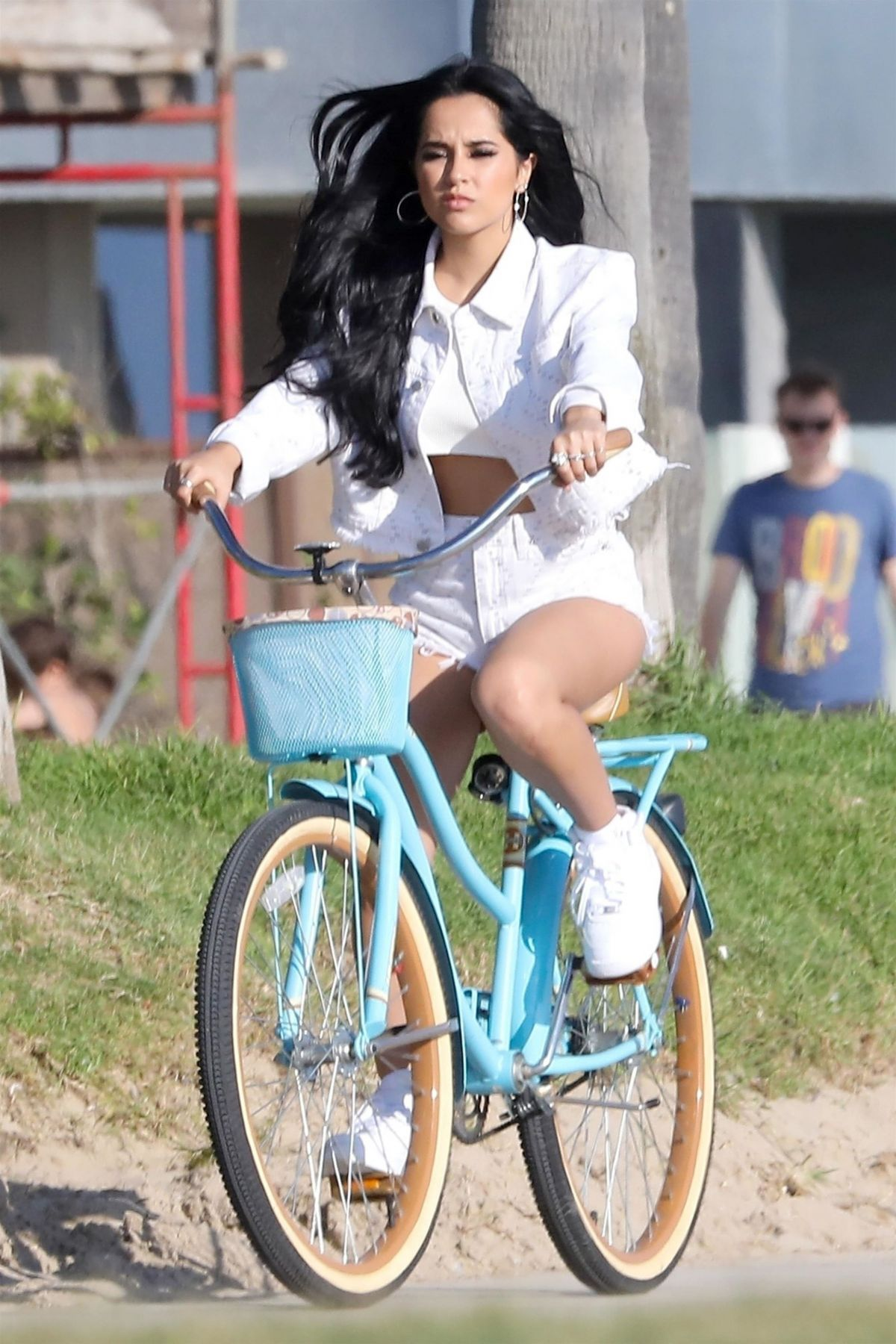 Becky G Filming a bike ride scene for an upcoming music video in