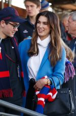 Delta Goodrem In the stands during a game with her mum in Elizabeth