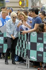 Emily Kinney Poses with fans outside Build Series in New York City