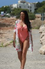 Jessica Wright With a friend heading to the beach in Ibiza