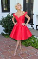 Kristin Chenoweth In Red after appearing on EXTRA in Los Angeles