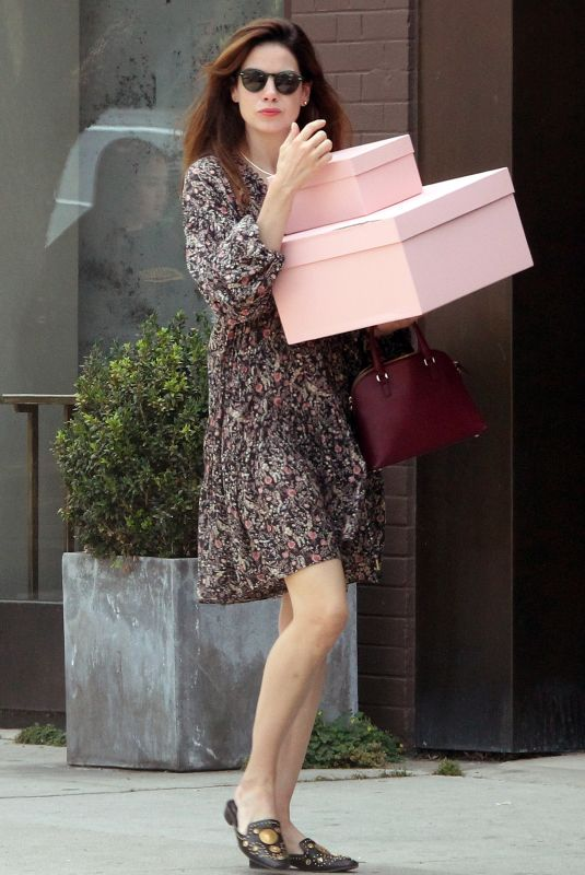 Michelle Monaghan Carrying pink boxes, spotted going to The Line,store in West Hollywood