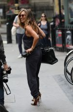 Myleene Klass Catches cab wearing jumpsuit while leaving Global Radio in London