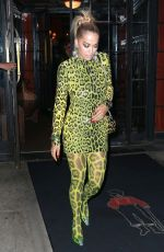 Rita Ora In neon green leopard print for a night out in NYC