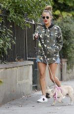 Caroline Flack Walks her dog in North London