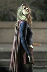 Melissa Benoist Gets into character for Supergirl as she films scenes in Vancouver