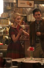 Rachel Brosnahan and Michael Zegen On the set of The Marvelous Mrs. Maisel in the West Village, New York