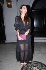 Ali Landry Stops for photos wearing a black sheer dress and matching heels outside celebrity hot spot Craig