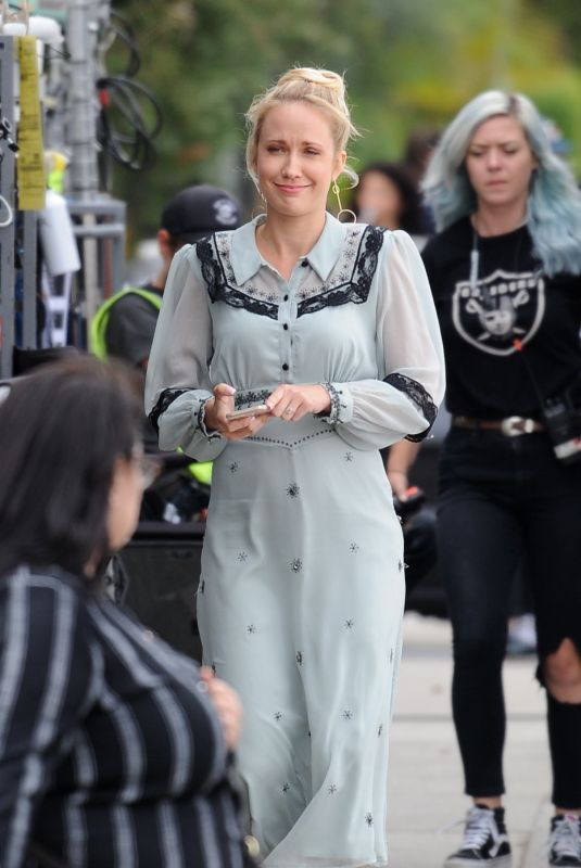 """Anna Camp Filming scenes for her upcoming comedy movie """"The Wedding Year"""" in Los Angeles"""