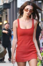 Emily Ratajkowski In a red dress while out strolling in New York City