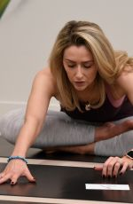 Gemma Merna Getting warmed up ahead of taking an early morning Yoga Class at Lululemon in Manchester