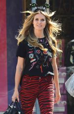 Heidi Klum Gets into the Halloween spirit early as she is seen shopping at Party City, Los Angeles