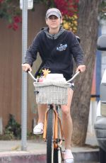 Jessica Stroup Tries her hand at tennis and goes for a ride on her beach cuiser in LA