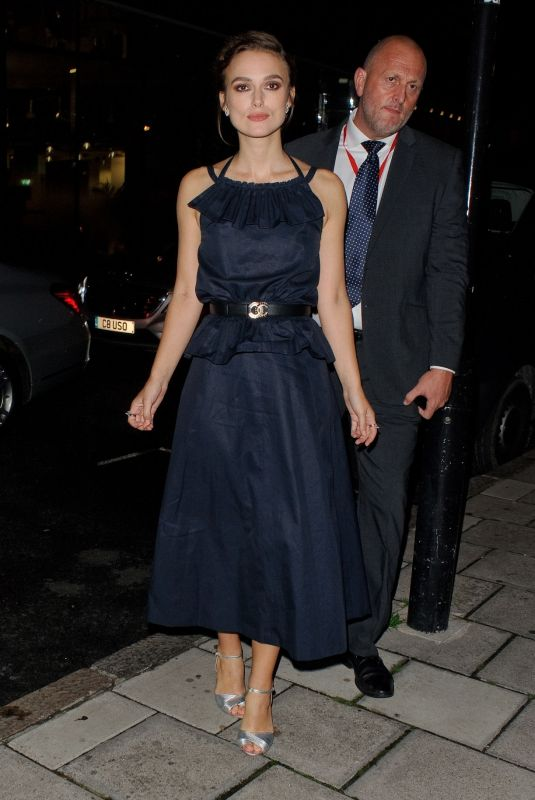 Keira Knightley Arriving at the afterparty for the film premiere of Colette in London, England